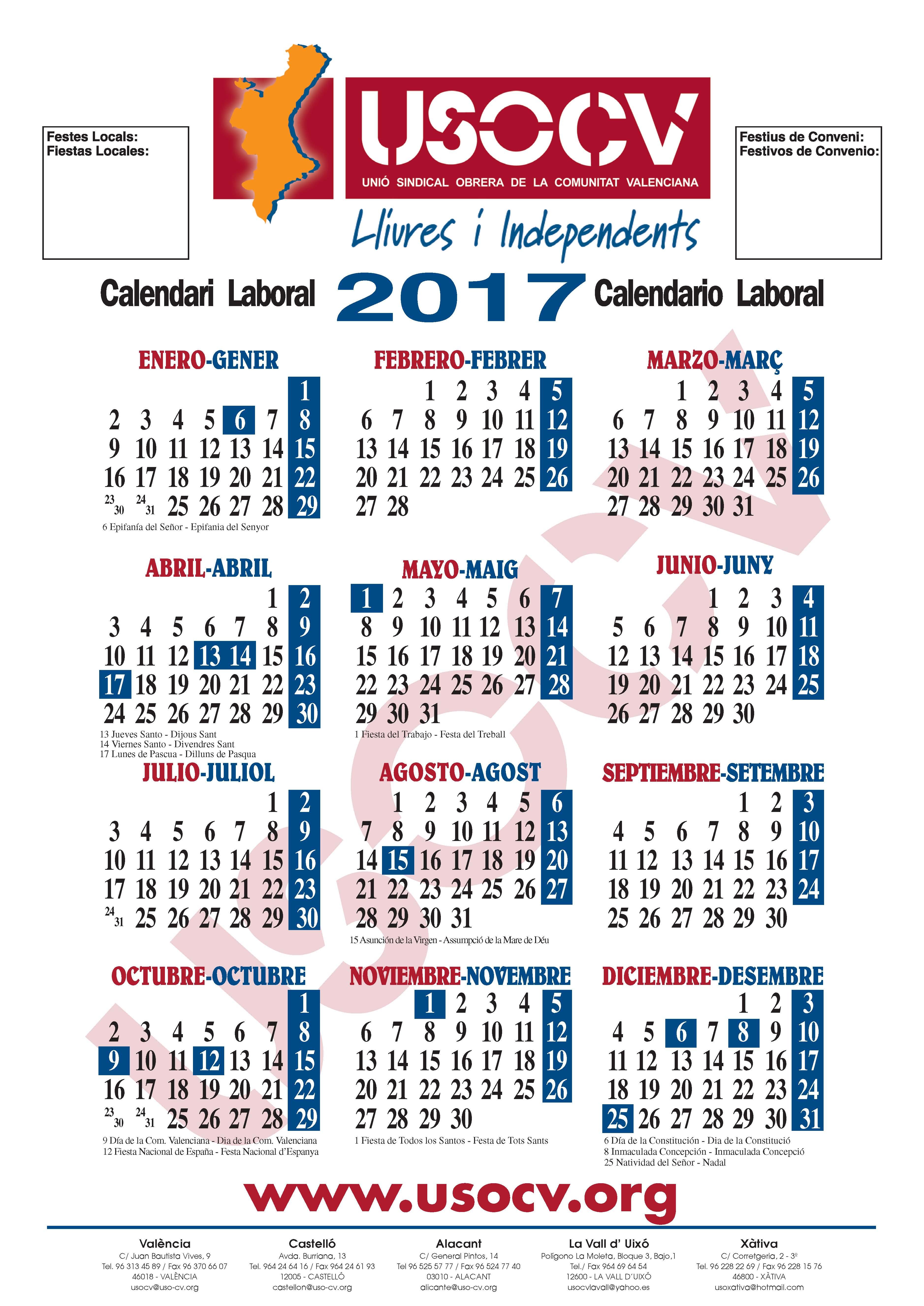 Calendario USOCV 2017