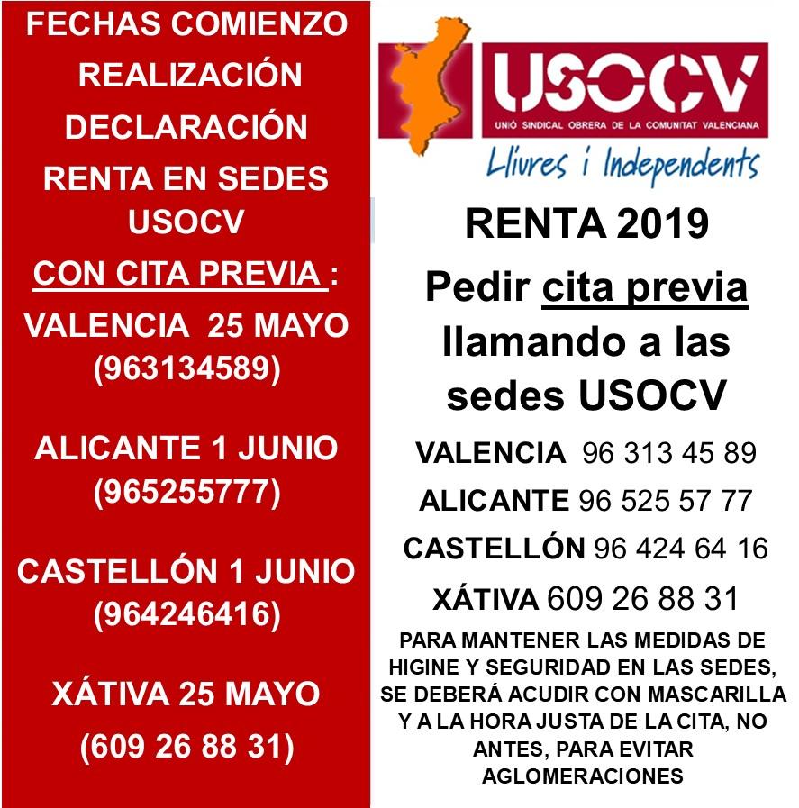 USOCV INFORMA;  SERVICIO RENTA 2019