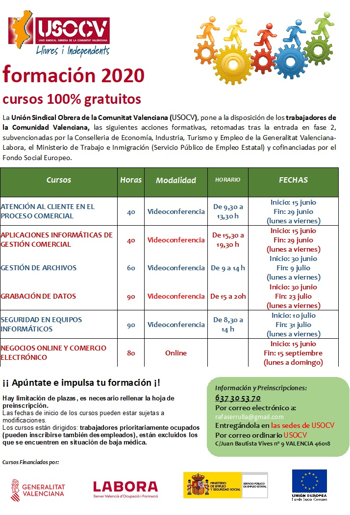 USOCV INFORMA; REANUDACIÓN CURSOS FORMACIÓN 2020