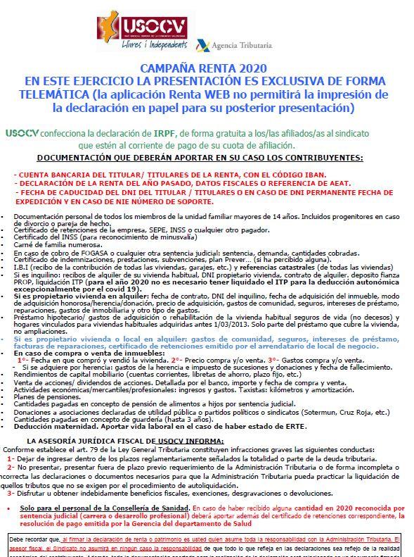 CAMPAÑA RENTA 2020 PARA AFILIADOS Y AFILIADAS